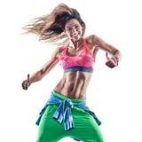 妇女健身excercises zumba舞蹈家跳舞 免版税库存照片