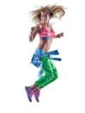 妇女健身excercises zumba舞蹈家跳舞 免版税图库摄影