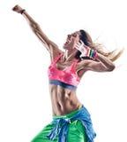 妇女健身excercises zumba舞蹈家跳舞 图库摄影