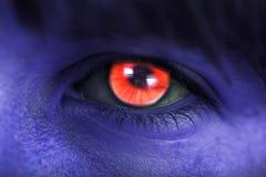 妇女具体化,红色眼睛 免版税库存图片