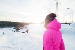 妇女冬天画象 免版税库存照片