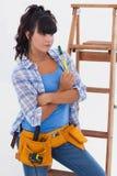妇女准备好住所改善 免版税库存照片