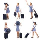 妇女准备好在白色隔绝的夏天旅行 库存图片
