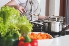 妇女准备从鸡和菜做的一顿膳食 图库摄影