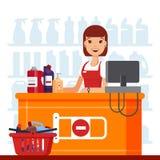 妇女出纳员在有家用化工产品的超级市场 柜台的卖主,家庭供应走道,洗涤剂 库存例证