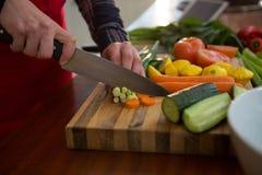 妇女切口菜的中间部分在厨房里 免版税库存照片