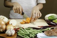 妇女切口菜 库存图片