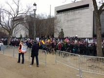 妇女前进` s 3月的人群,华盛顿特区,美国 免版税库存照片