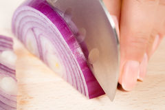 妇女剪切葱 免版税库存照片