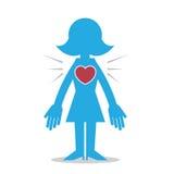 妇女剪影心脏 库存照片