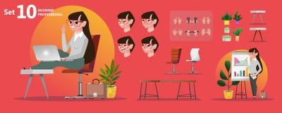 妇女办公室行业 为动画设置的风格化字符 向量例证