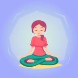 妇女动画片瑜伽姿势技巧例证 免版税库存图片