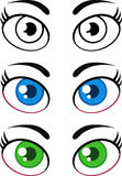 妇女动画片眼睛 收集集 免版税库存照片