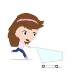 妇女动画片购物车,在白色背景,在平的设计的传染媒介例证 库存图片