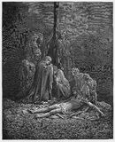 妇女包扎并且涂油耶稣身体 向量例证