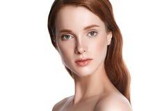 妇女化妆特写镜头秀丽画象,沙龙美好的peop的 免版税库存照片