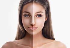 妇女半面孔棕褐色美丽的画象 免版税库存照片