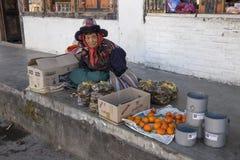 妇女卖在Paro, B大街的边路的食物  免版税库存图片
