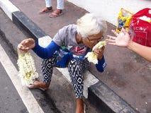 妇女卖sampaguita花诗歌选  图库摄影