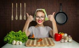 妇女厨师 免版税库存照片