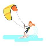 妇女参与在冲浪西班牙节日的风筝 免版税库存照片