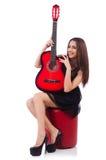 妇女吉他演奏员被隔绝 库存照片
