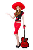 妇女吉他演奏员 免版税库存照片