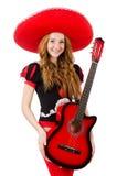 妇女吉他演奏员 图库摄影