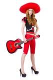 妇女吉他演奏员 免版税图库摄影