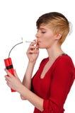妇女吸烟者 库存图片