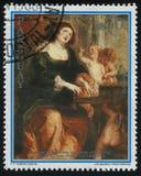 妇女和三个孩子鲁文斯 免版税库存照片
