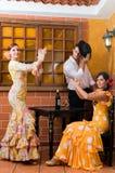 妇女和人传统佛拉明柯舞曲礼服的跳舞在宗教节日de Abril期间4月西班牙 免版税库存图片