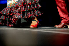 妇女和人腿舞蹈佛拉明柯舞曲裙子和鞋子印刷品的 免版税库存照片