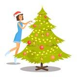 妇女和圣诞树,传染媒介例证 免版税图库摄影