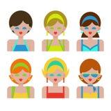 妇女和女孩夏天衣裳的 免版税库存照片