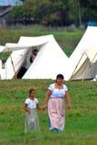 妇女和女孩画象历史服装的 免版税库存照片