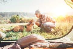 妇女和她的狗招标场面在野营的帐篷附近 活跃休闲,旅行与pet6简单的事概念图象 免版税库存图片