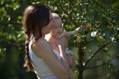 妇女和婴孩有苹果树的 免版税库存照片