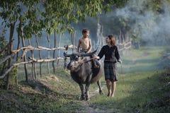 妇女和孩子的有水牛的 库存图片