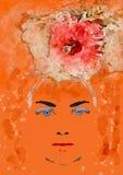 妇女和异乎寻常的花 当代艺术 免版税库存照片