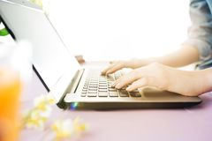 妇女和果子在办公室时节食,当研究计算机 图库摄影