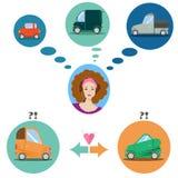 妇女和汽车infographics 平的象汽车 图库摄影