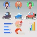 妇女和汽车infographics 平的象 免版税库存图片