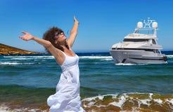 妇女和海运 免版税库存图片