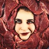 妇女和牛肉 库存照片