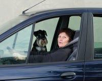 妇女和狗在汽车 库存照片