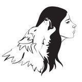 妇女和狼 免版税库存图片