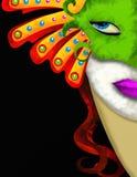 妇女和绿色狂欢节屏蔽 免版税库存图片