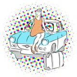 妇女和老东德汽车 免版税库存图片