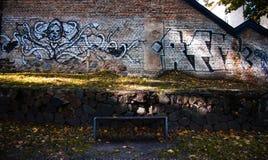 妇女和蛇奇怪的街道画在长凳后在Vlinius 免版税库存照片